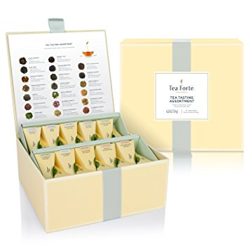 Tea Forté Tea Tasting Assortment Tea Chest, Assorted Variety Tea Box, 40 Handcrafted Pyramid Tea Infuser...